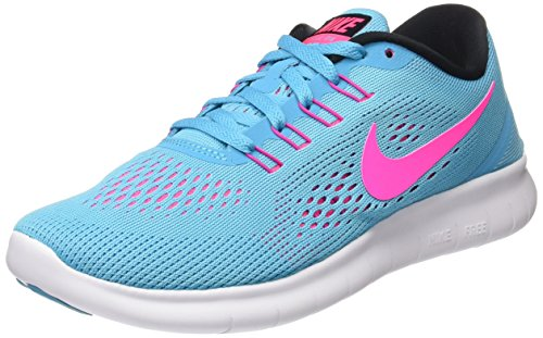 Nike Kvinders Frie Rn Kører Sneakers Letvægts Fritidssko 831.509 (6 M Os, Gamma Blå / Lyserød Blast / Foto Blå / Sort)
