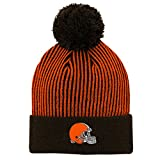 Outerstuff NFL Cleveland Browns Youth Boys Hidden Rib Cuffed Knit Hat with Pom Brown Suede, Youth One Size