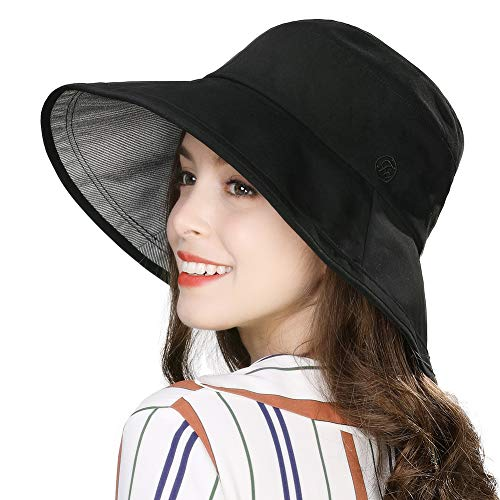 Summer Beach Bucket Hat for Women Sun UV Protection Travel Hiking Brim Fashion Fishing Hunting Chin Strap SPF Black