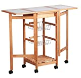Soogo Portable Rolling Drop Leaf Kitchen Storage Trolley Cart Island Sapele Color