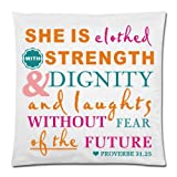 Bible Verse Pillow Case – She Is Clothed With Strength And Dignity – Rectangle Pillowcase 18×18 Zippered inch Two Sides Square Pillow Covers
