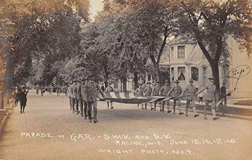 Racine Wisconsin GAR Parade Patriotic Military Real photo Postcard JI657825