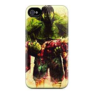 High Grade AccDavid Flexible Tpu Case For Iphone 4/4s - Hulk And Iron Man