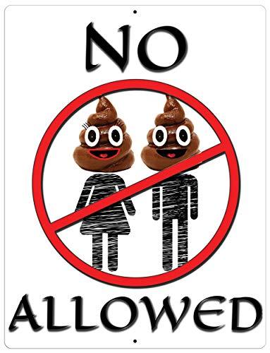 Import Wholesales Funny Aluminum Sign No Poop Heads Allowed Man Woman Emoji 12