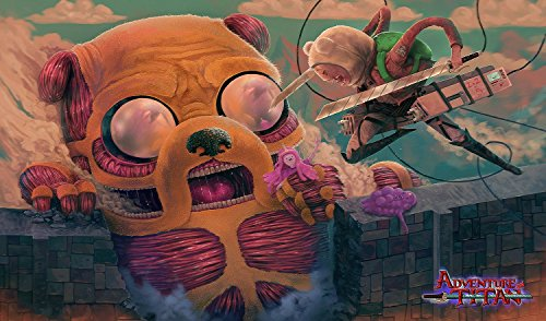 (Adventure Time Attack on Titan Playmat + Free RFG Small Sized Sleeves 75 Count)