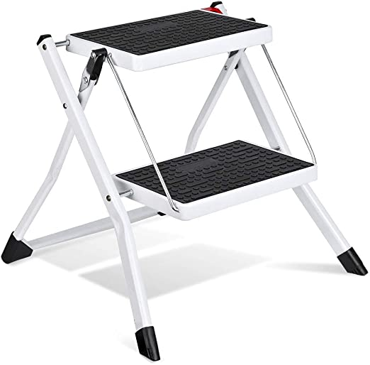 B-fengliu Escalera de Tijera Escaleras de Tijera Plegables Blancas Ligeras con empuñadura Antideslizante Escalera de Acero Robusta y de Pedales Anchos Mini-Taburete: Amazon.es: Hogar