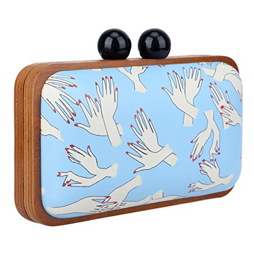Purses Hand Bonjanvye For Women Leather Clutch Frame Wood Pattern Blue Evening wXddq6f