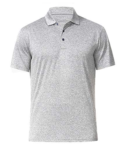 Men's Athletic Golf Polo Shirts, Dry Fit Short Sleeve Workout Shirt (XL, Light Grey)