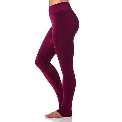 Alki'i Womens Warm Winter Fleece Lined Leggings Burgundy-L/XL at Women's Clothing store