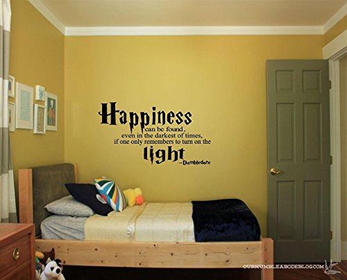 Quote It! – Dumbledore Happiness Can Be Found – Harry Potter Vinyl Wall Decals Quotes Inspirational (14 x 24, Black)