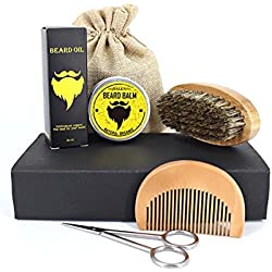 Beard Care Set for Men with Beard Brush,Beard Comb,Beard Oil,Beard Balm Butter Wax and Scissors,Moustache Growth Grooming&Trimming Kit for Shaping & Styling