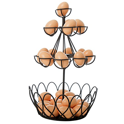 Black Metal Wire Egg Basket w/ Removable 14 Individual Holder, Storage Organizer Rack for Eggs (Egg Fresh Rack)