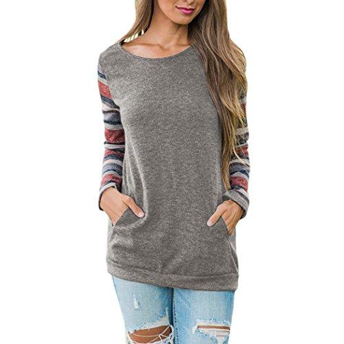 - IEason Women Blouse Women O-Neck Long Sleeve Sweatshirt Pullover Pocket Tops Blouse Shirt (S, Gray)