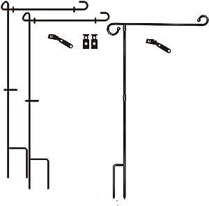 2020 Newest Garden Flag Holder Stand 3 Pack Garden Flag Pole Premium Garden Flag Pole Holder with Anti-Wind Clip for Outdoor Garden Lawn