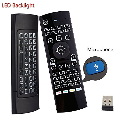 Dupadstory Voice Air Remote Mouse MX3 Pro,2.4G Backlit Kodi Remote Control,Mini Wireless Keyboard & Infrared Remote Control Learning, Best For Android Smart TV Box HTPC IPTV PC Pad Xbox Raspberry pi 3 ()