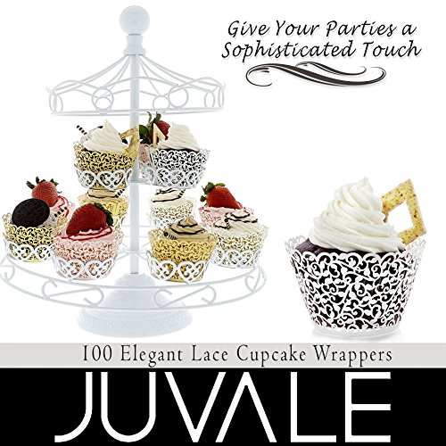100 Piece Lace Cupcake Liners - Decorative Laser Cut Wrappers, Muffin Cups - Elegant Vine Hollow Pattern Design for Weddings, Birthday Party, Baby Showers, Christmas and Special Occasions - Pink by Juvale (Image #5)