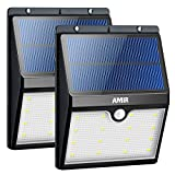 AMIR Solar Lights Outdoor, 16 LED Motion Sensor Wall Lights, Wireless Garden Security Light, Waterproof Solar Step Lights for Patio, Deck, Yard, Garden, Garage, Driveway, Pathway, Stairs, Pool, 2 Pack
