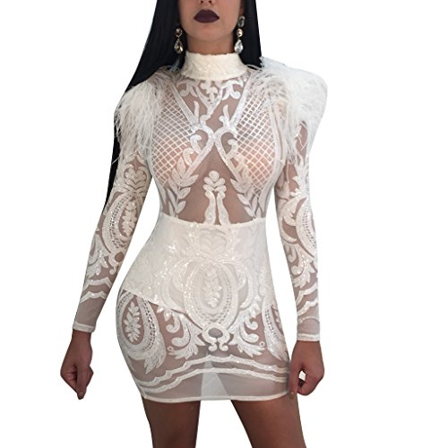 V-FANCY Women's Sexy See Through Tatoo Gothic Sequin Club Dress (M, (Sexy Dress Clothes)