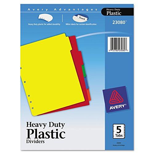 Avery 23080 Heavy-Duty Plastic Dividers w/White Tabs, 5-Tab, Letter Avery Heavy Duty Vinyl