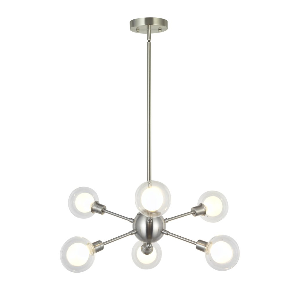 BONLICHT Mid Century Modern 6-Light Sputnik Chandelier Light Fixture G9 40W (Bulbs Included) Brushed Nickel Pendant Lighting for Kitchen Island Dining Room Bedroom Foyer