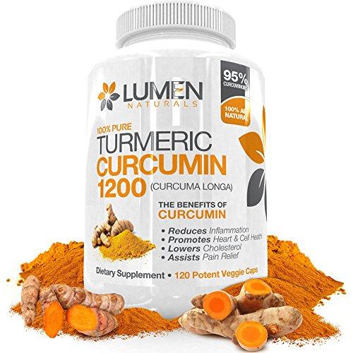 Curcuma curcumine Super Strength 1200mg avec 95% Curcuminoïdes - Puissant anti-inflammatoire pour réduire l'inflammation des articulations et l'arthrite soulagement de la douleur - puissant antioxydant favorise la santé du cerveau et le vieillissement Gra