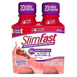 SlimFast Advanced Nutrition Strawberries & Cream Shake – Ready to Drink Meal Replacement – 20g of Protein – 11 fl. oz. Bottle – 4 Count
