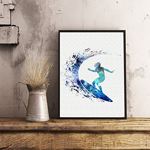 (Surfer Girl Watercolor Posters Art Prints Surfing Wall Decor Artworks Wall Art Dining Room Art Wall Hanging Decor House Warming Gift)