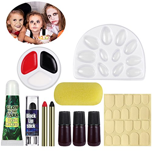 UNOMOR Halloween Make Up Set with Glow in Dark Nails, All in One (Halloween Zombie Face Paint)