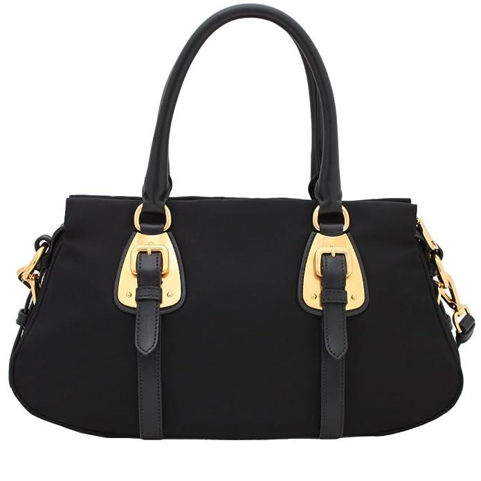 c9d2c0ab222746 Prada Tessuto Black Nylon Leather Convertible Top Handle Satchel Bag  Shoulder Handbag BN2864: Amazon.ca: Shoes & Handbags