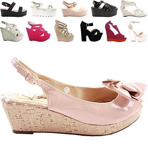 NEW WOMENS LADIES LOW MID HIGH HEEL STRAPPY WEDGES PEEP TOE SUMMER PLATFORM SANDALS SHOES SIZE Style 14 - Nude