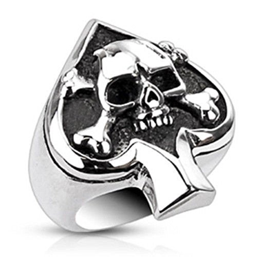 (316L Stainless Steel Spade Ace Crossbone Death Skull Goth Ring Size 6 - 13 (6))