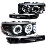 GMC Sierra Yukon Projector Halo LED Headlights+Bumper Lights Black
