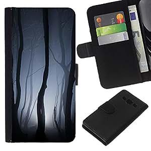 KLONGSHOP // Tirón de la caja Cartera de cuero con ranuras para tarjetas - Luces Bosque Gris noche de miedo - Samsung Galaxy A3 //