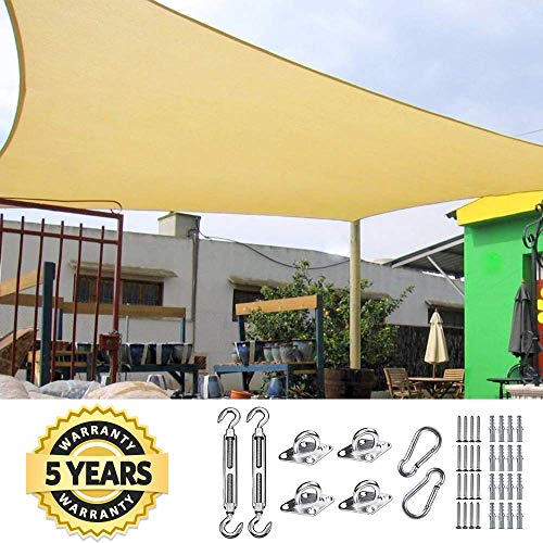Quictent 24X24FT 185G HDPE Square Sun Shade Sail Canopy 98 UV Block Outdoor Patio Garden with Free Hardware Kit Sand