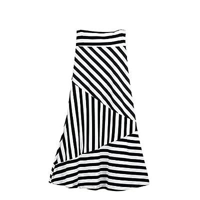 TOPUNDER Maxi Skirts for Women High Waist Striped Fold Over Stretch Long Skirt