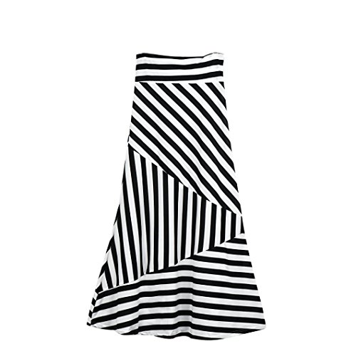 Bustle Over Skirt - TOPUNDER Maxi Skirts for Women High Waist Striped Fold Over Stretch Long Skirt