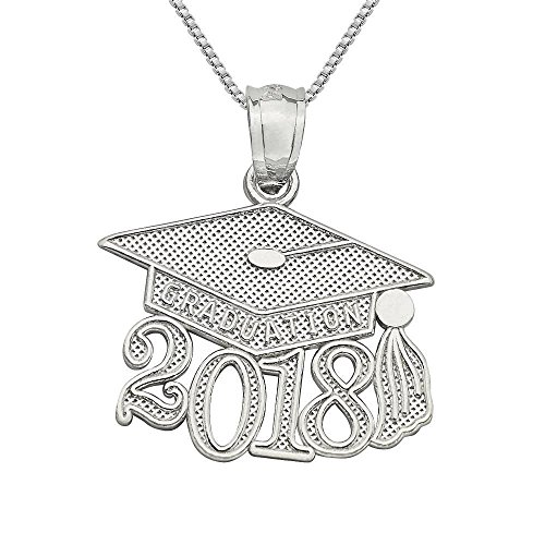 Sterling Silver 2018 Graduation Cap Charm / Pendant, Made in USA, 18