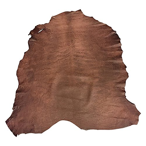 (Real Leather Hides - Brown Color - Quality Spanish Lambskin - 7 sq ft - 2 oz. avg Thickness - Rustic Finish - Genuine Sheepskin Fabric - Craft Projects - Upholstery Home Décor Material)