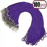 100pcs Purple Lanyard Bulk Clip Swivel Hook 20.5-inch Cotton Neck Woven Badge Lanyards with Clips Purple Lanyards for id Badges (Purple)