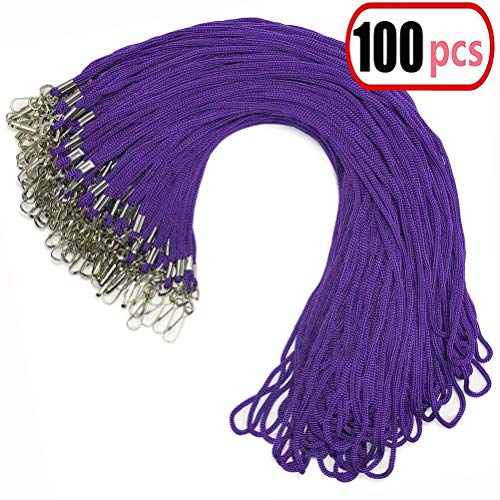 100pcs Purple Lanyard Bulk Clip Swivel Hook 20.5-inch Cotton Neck Woven Badge Lanyards with Clips Purple Lanyards for id Badges (Purple)