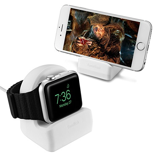 TomRich T50 Apple Watch Stand White with Night Stand Mode for Apple Watches Series 1/Series 2/42 mm/38 mm 2015/2016 All Models Integrated Cable Management Slot