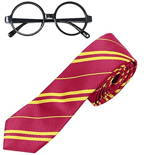 Harry Potter Halloween Costumes For Adults (Striped Tie with Novelty Glasses Frame for Cosplay Costumes Accessories for Halloween and Christmas)
