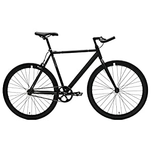 Critical Cycles Classic Fixed-Gear Single-Speed Track Bike with Pursuit Bullhorn Bars, Matte Black, 57cm/Large