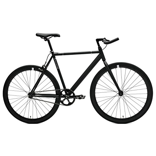 Critical Cycles Classic Fixed-Gear Single-Speed Track Bike with Pursuit Bullhorn Bars, Matte Black, 53cm/Medium