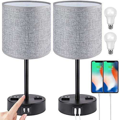 Touch Control USB Table Lamp Set of 2, PARTPHONER 3 Way Dimmable Bedside Nightstand Lamps with 2 USB Charging Ports 2 AC…