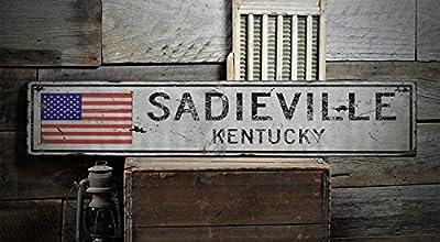 The Lizton Sign Shop SADIEVILLE, KENTUCKY US Flag Sign - Rustic Vintage Wooden Sign