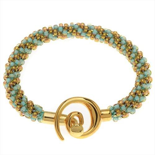 - Beadaholique Spiral Beaded Kumihimo Bracelet (Gold/Turq) - Exclusive Jewelry Kit