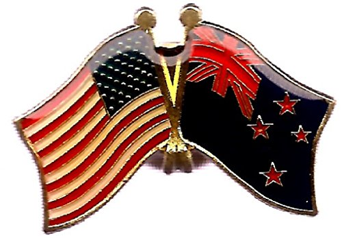 (Pack of 3 New Zealand & US Crossed Double Flag Lapel Pins, New Zealander & American Friendship Pin Badge)