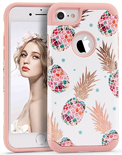 iPhone 7 Case Pineapple,Imikoko™ Hybrid Protective Heavy Duty Hardshell Case Floral Hard Scratch Proof Case Hard PC with Durable TPU Cute Protective Case for iPhone 7 4.7