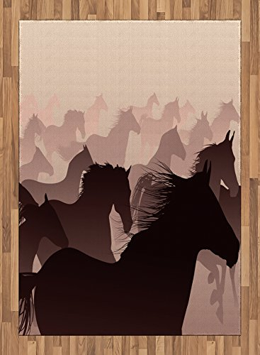 Africa Area Rug by Lunarable, Equestrian Reflection of the Running Horses Race Champion Sports Hobby Graphic Design, Flat Woven Accent Rug for Living Room Bedroom Dining Room, 5.2 x 7.5 FT, Pink Wine by Lunarable